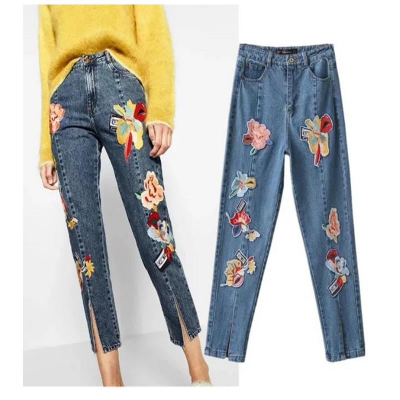 2017-principios-de-la-primavera-de-dama-de-cintura-alta-pantalones-de-parches-pantalones-de-flores