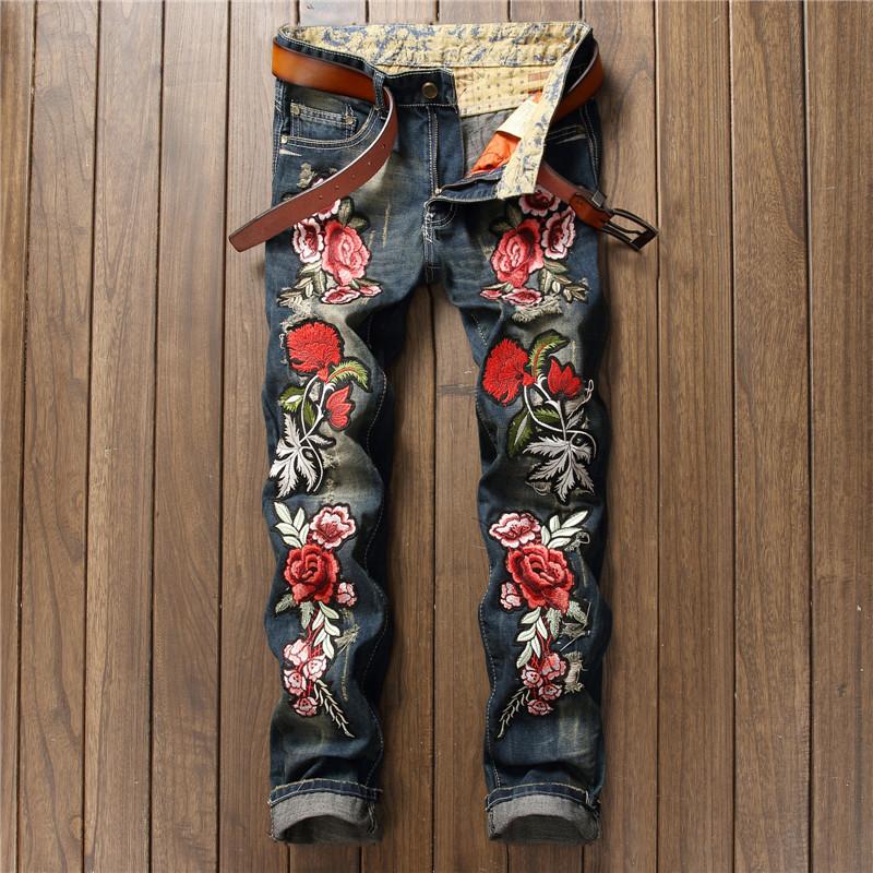 nueva-personalidad-bordado-belleza-parche-insignia-flores-ripped-apenada-jeans-hombres-biker-jeans-rap-hip-hop